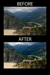 Mountain before and after