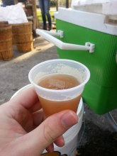 Fresh squeezed cider samples.