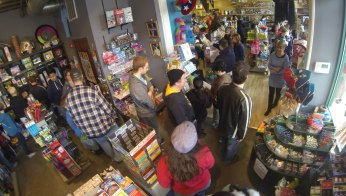 Off The Wagon is still a relatively new, local vendor and comics are only a small part of their inventory, but there was a huge turnout for them. At one point the line was backed up all around the store, and nearly out the door.