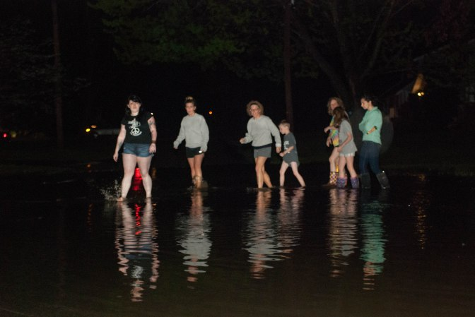A Stow family returned to their home after seeking shelter with a neighbor.