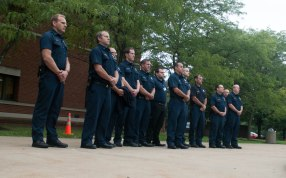 Stow police officers paid their respects to those lost in the September 11th attack in 2001.