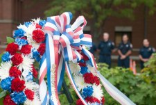 A wreath was hung at the memorial garden to commemorate those who passed in the September 11th attack in 2001.