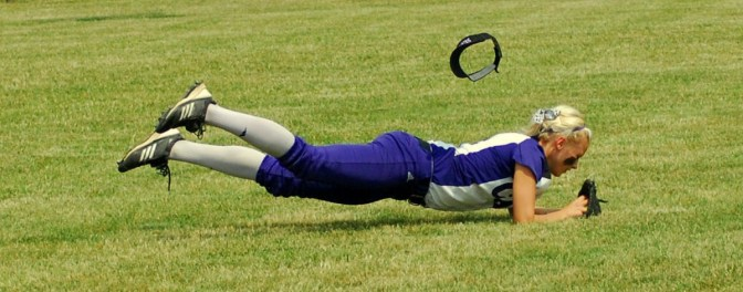 Sophomore outfielder, Jenny Schaffer made a diving catch.